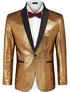 815912dfbc084a COOFANDY Men's Fashion Suit Jacket Blazer One Button Luxury Weddings Party  Dinner Prom Tuxedo Gold Silver