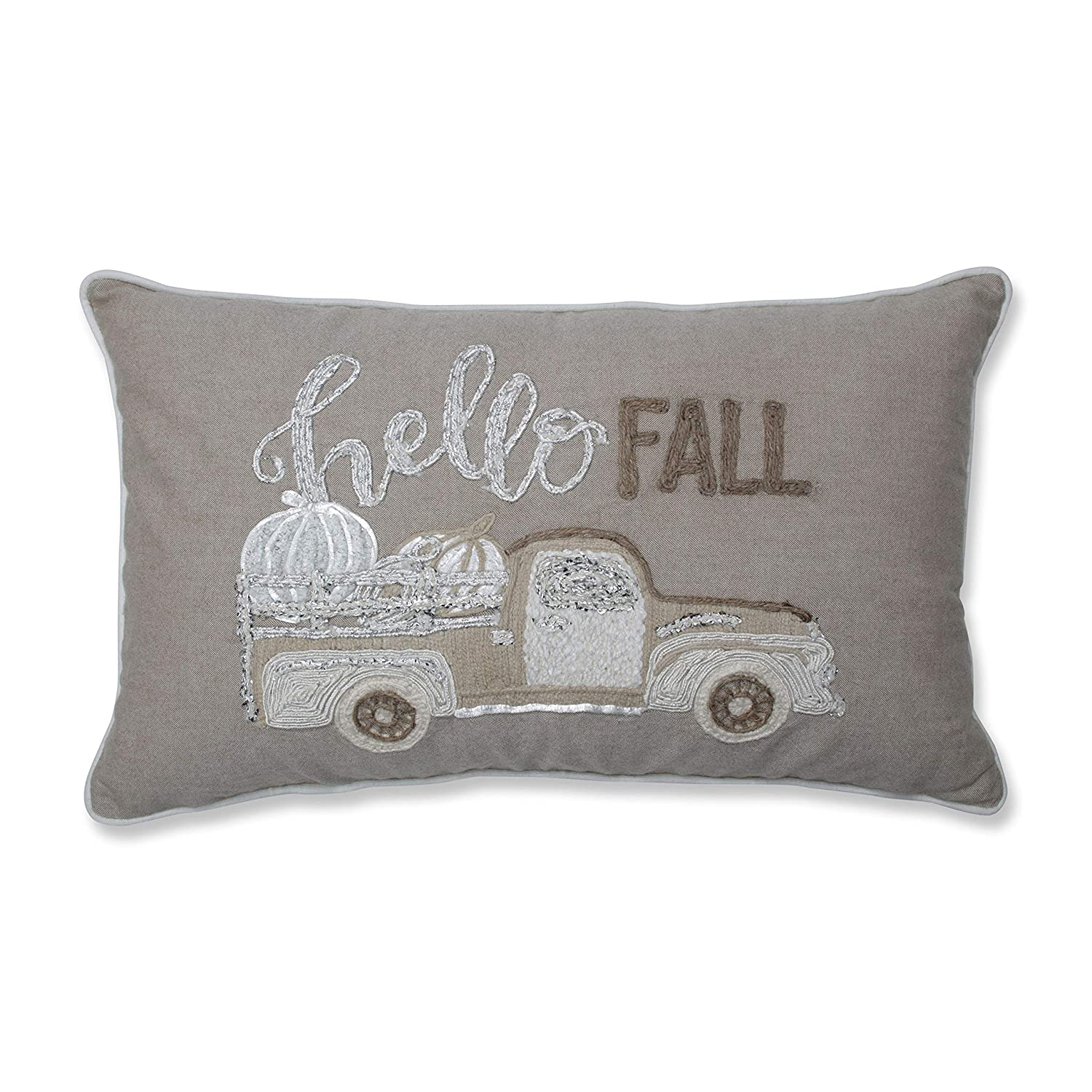 D Red Pillow Perfect Hello Fall Decorative Appliqued Lumbar Pillow Natural//Off White Decorative Pillow 18.5 in L X 11.5 in W X 5 in