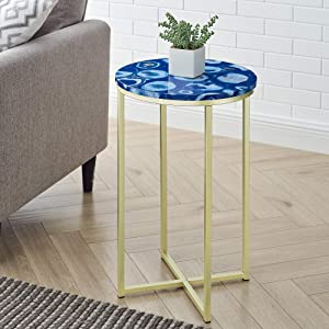 Walker Edison Modern Metal and Marble Round Side Accent Living Room Storage Small End Table, 16 Inch, Black Agate