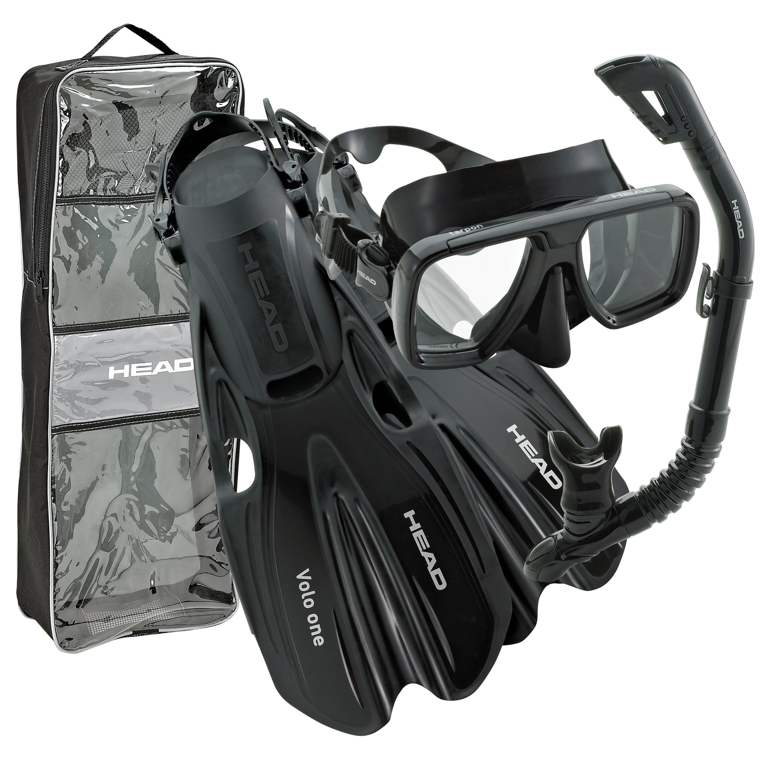 HEAD by Mares Tarpon Travel Friendly Premium Mask Fin Snorkel Set, Black, Large, (10-13)