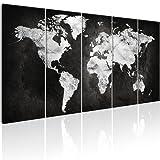 decomonkey | Bilder Weltkarte 225x90 cm 5 Teilig | Leinwandbilder Weltkarte | Vlies Leinwand | WandBilder Weltkarte | Wand | Bild aud Leinwand | Wandbild | Kunstdruck | Wanddeko Welt Karte Kontinente Landkarte DKA0105a5L
