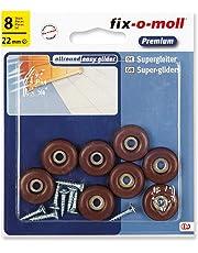 fix-o-moll 3566444 - Pattini slittanti universali per mobili, con vite, 22 mm, 8 pz, colore marrone