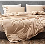 Melingo Cotton Duvet Cover Queen Full Size, Beige Organic Cotton, Soft, Cooling, Breathable Bedding Collection with Buttons C