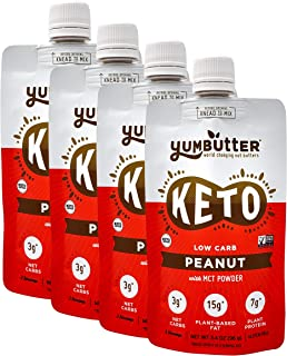 product image for Keto Nut Butter, Peanut – Keto Snacks with MCT Oil, Fat Bomb Low Carb Snacks (3 Net Carbs), On-the-go Keto Food by Yumbutter, 3.4oz pouch, 4 pack