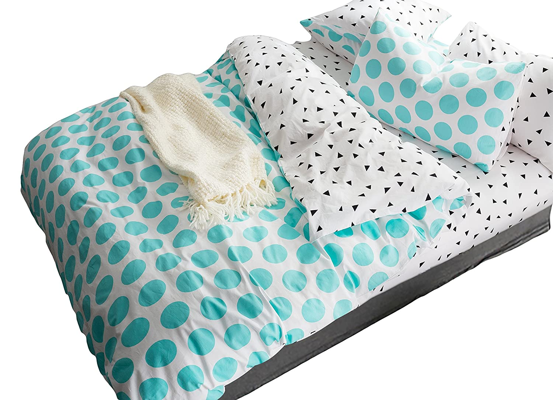 AVA.Home なめらかツイル織りの布団カバークイーン4点セット 棉100%高密度綿サテン (掛け布団カバー1枚フラットシーツ1枚ピロケース2枚) B01FVSYR4Uクイーン