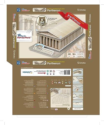 Scholas SP01-0271. Puzzle 3d El Partenón, Atenas. 40 piezas ...