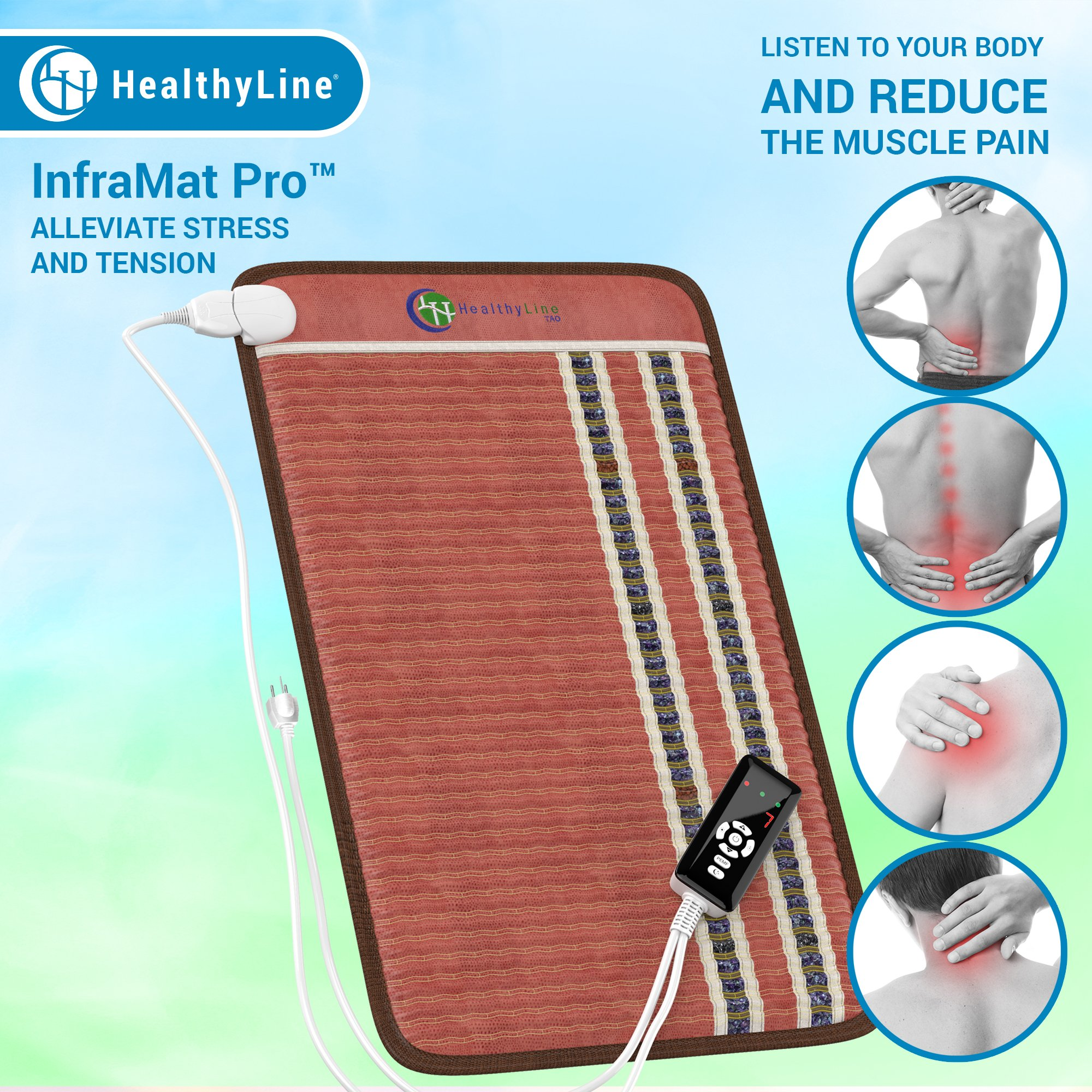 HealthyLine Infrared Heating Pad 32''x20'' (Firm) |PEMF 7.83Hz Tourmaline, Amethyst & Obsidian Gemstones |US FDA Registered, Comfy & Portable Pad |For Sore Muscles & Aching Joints by HealthyLine
