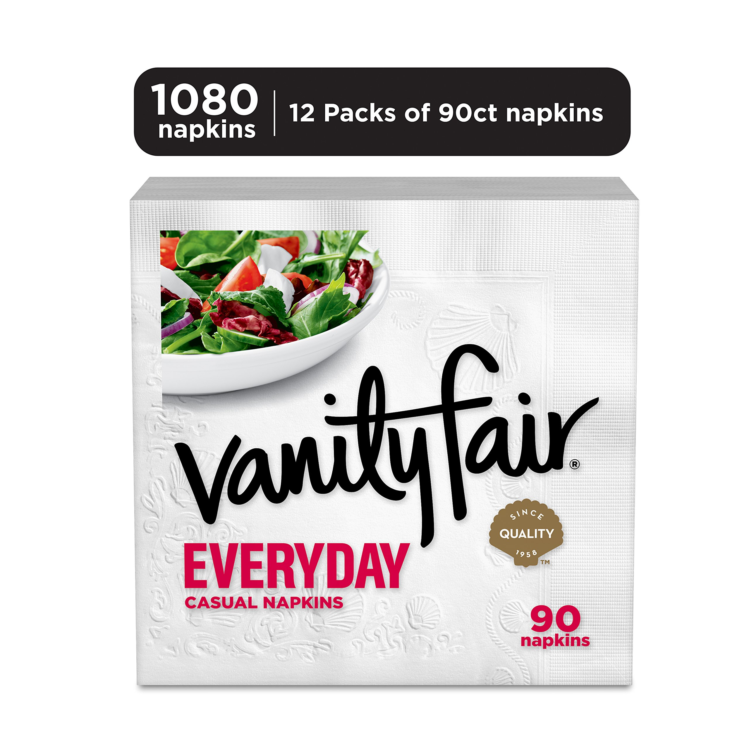 Vanity Fair Everyday Napkins, 1080 Count, White Paper Napkins, 12 Packs of 90 Napkins by Vanity Fair (Image #2)