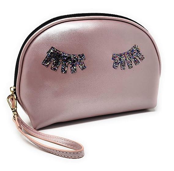 HK Women/'s Glitter Faux Leather Wristlet Clutch Purse Toiletry Makeup Bag Splen
