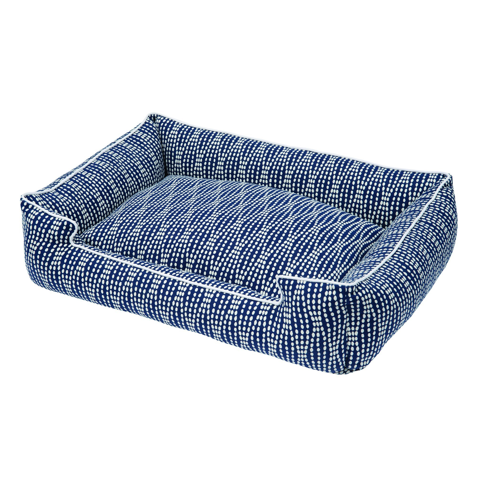 Jax and Bones Pearl Cotton Blend Lounge Dog Bed, Small, Navy