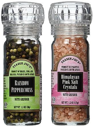 Trader Joe S Gourmet Set With Grinder Tops Rainbow Peppercorns Pink Himalayan Salt Crystals Amazon Com Grocery Gourmet Food