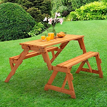Trueshopping Modbury Two In One Convertible Garden Bench And Picnic Table  Simple Conversion From Bench To