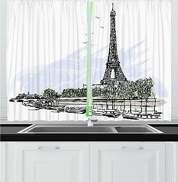 Amazon Com Ambesonne Paris Kitchen Curtains Architecture