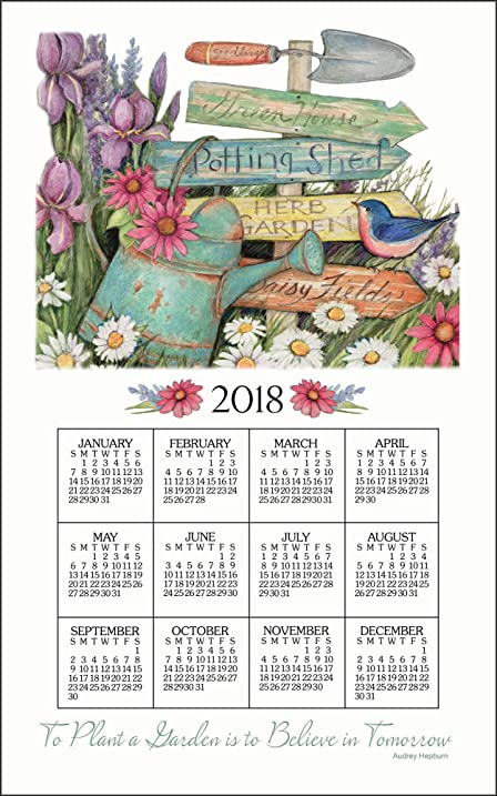 KayDee Designs 2018 Linen Calendar Kitchen Towel (Garden Signs)
