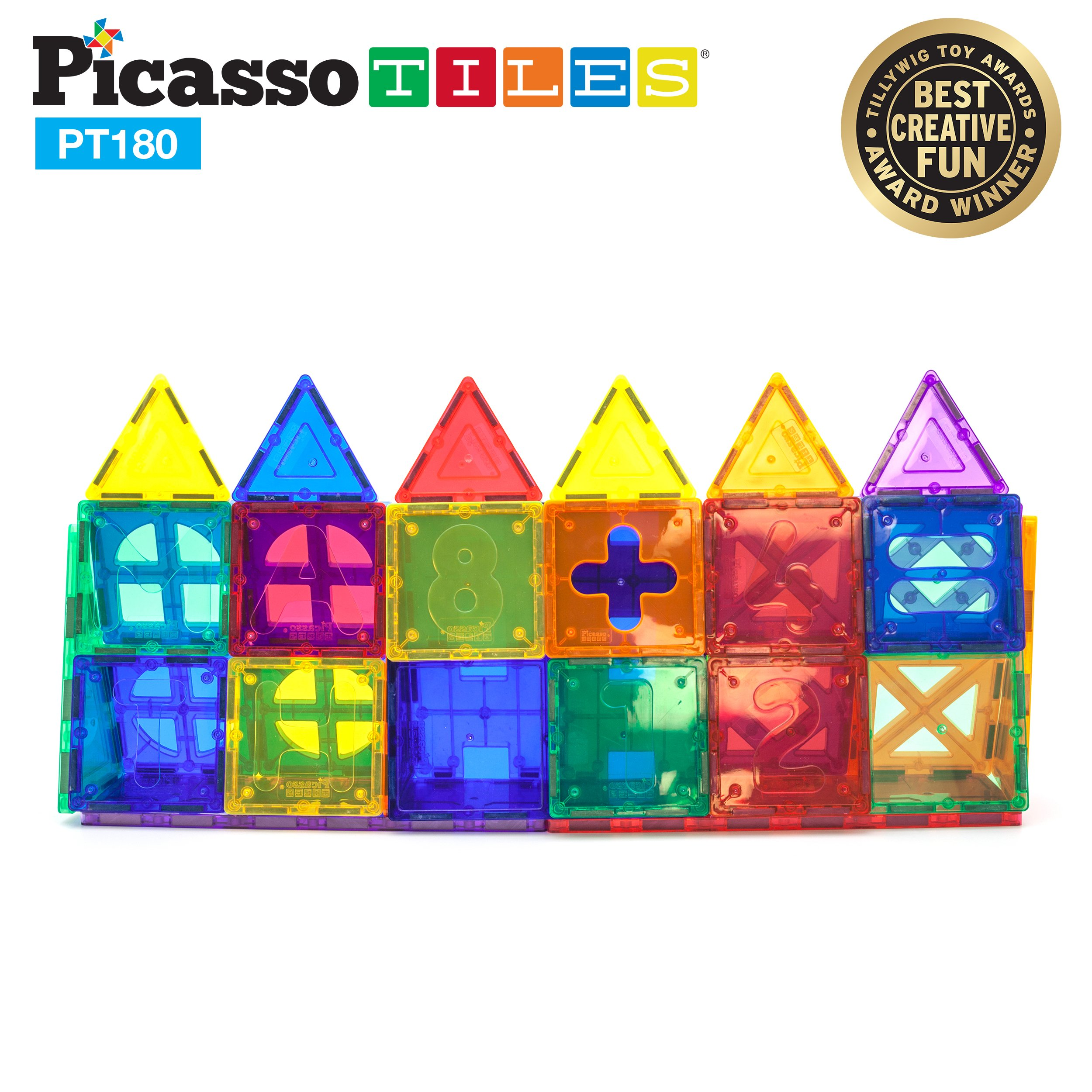PicassoTiles PT180 Piece Set 180pc Building Block Toy Deluxe Construction Kit Magnet Building Tiles Clear Color Magnetic 3D Construction Playboards Educational Blocks Creativity Beyond Imagination by PicassoTiles (Image #7)