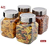Plastic Storage Jars With Lids; Milton Food Storage Containers 4 Pack 34 oz. Clear Square Lightweight PET Canisters;Wide-Mouth, Airtight Lids Caps; Clear Empty Multi-Purpose Jars BPA Free
