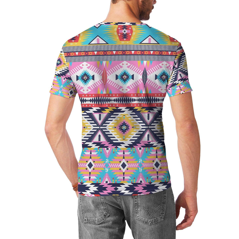 Bright Aztec Tribal Geometric Mens Sport Mesh T-Shirt