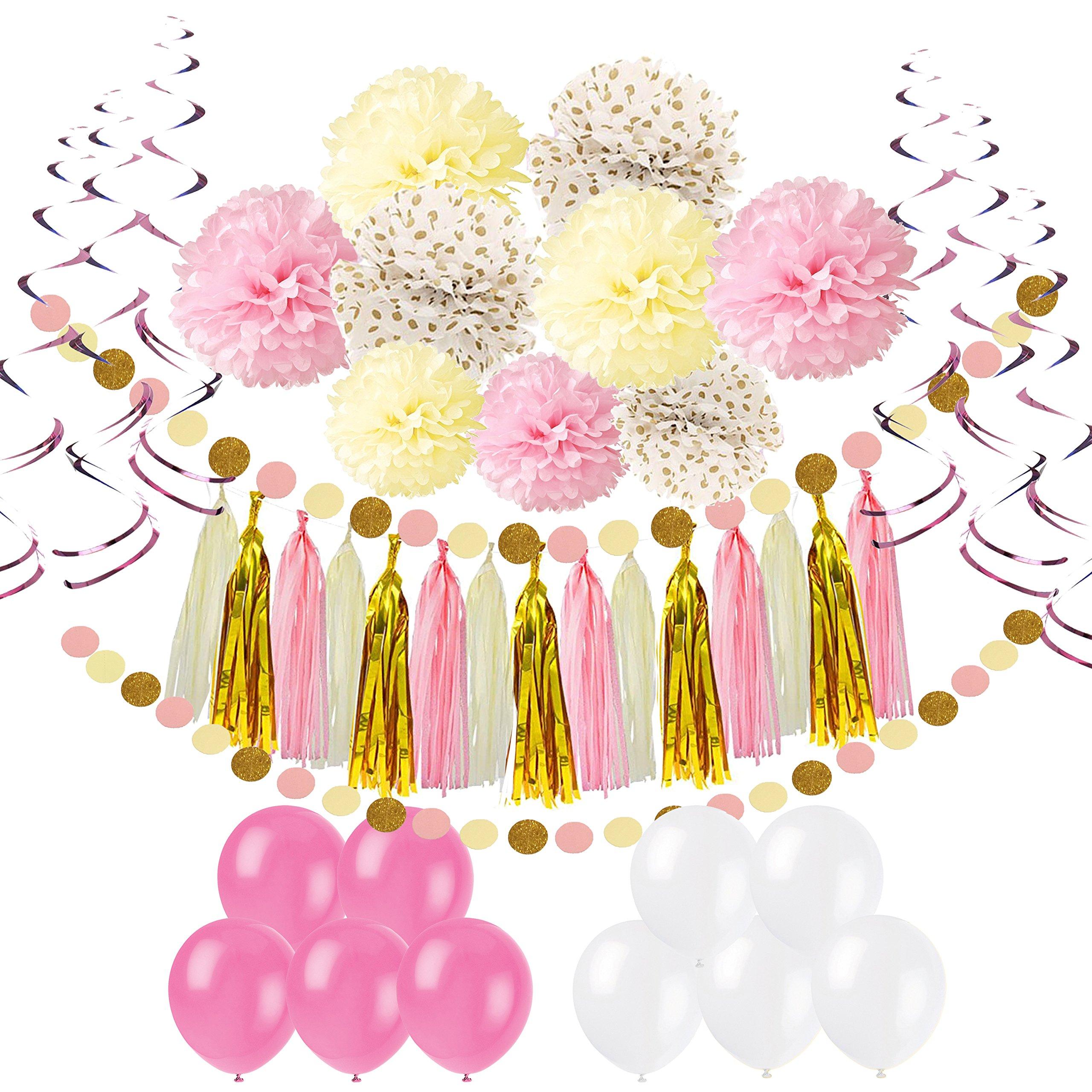 Pietypet Party Decorations, Paper Pom Poms Paper Tassel, Polka Dot Garland, Hanging Swirl Balloon Kit Baby Shower Wedding Birthday Celebration Table Wall Decoration - Pink