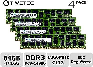 New Samsung 64GB 4x16GB 2Rx4 PC3-14900R-1866Mhz 1.5V ECC Registered Memory For
