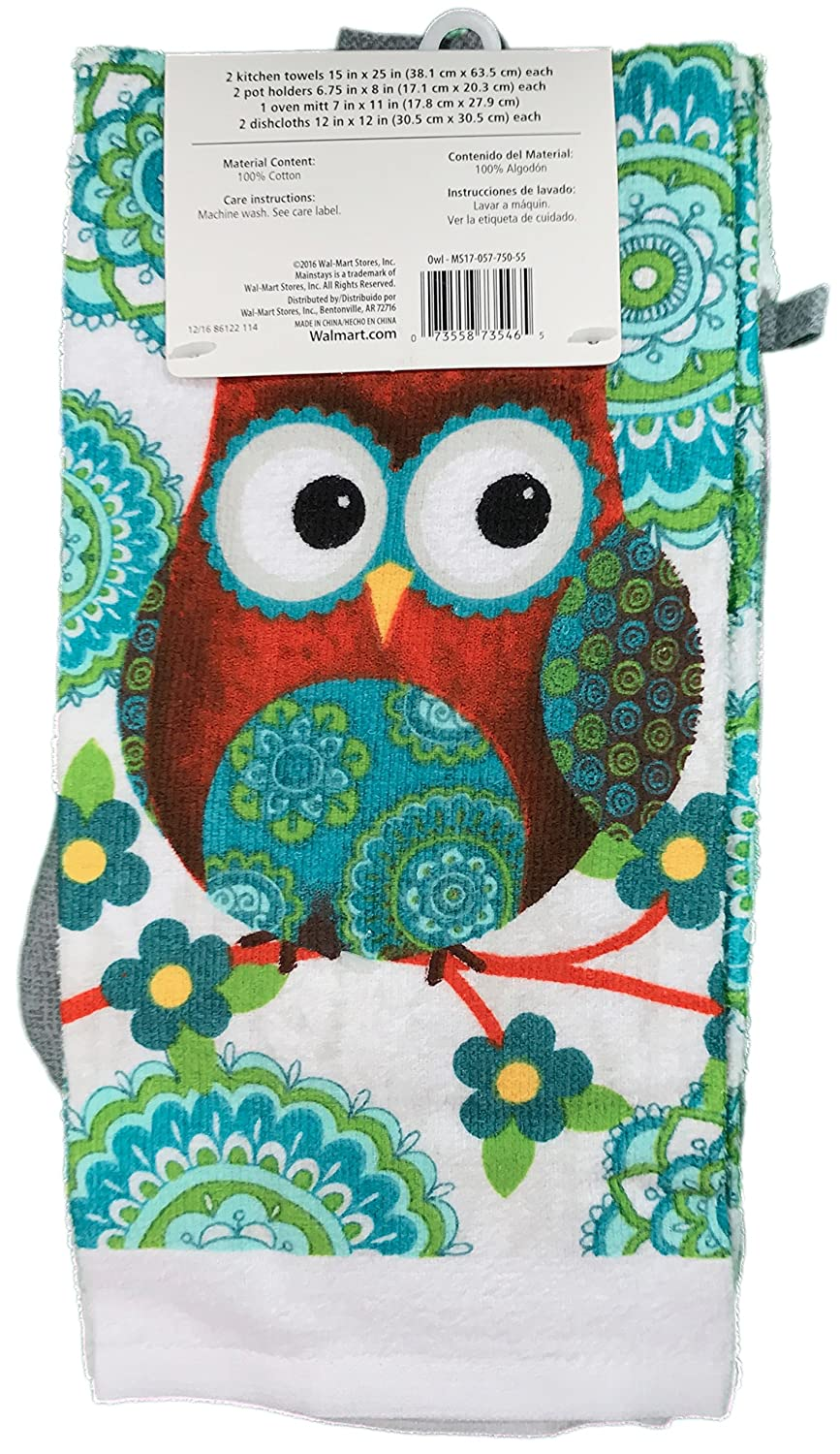 Owl Kitchen Towels | Amazon Com Mainstays 7 Piece Kitchen Set Owl Home Kitchen