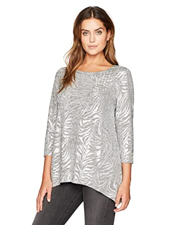 0699c68b160cb Ruby Rd. Women s Plus Size Embellished Zebra Stripe Printed Foil Heather  Jersey Top at Amazon Women s Clothing store