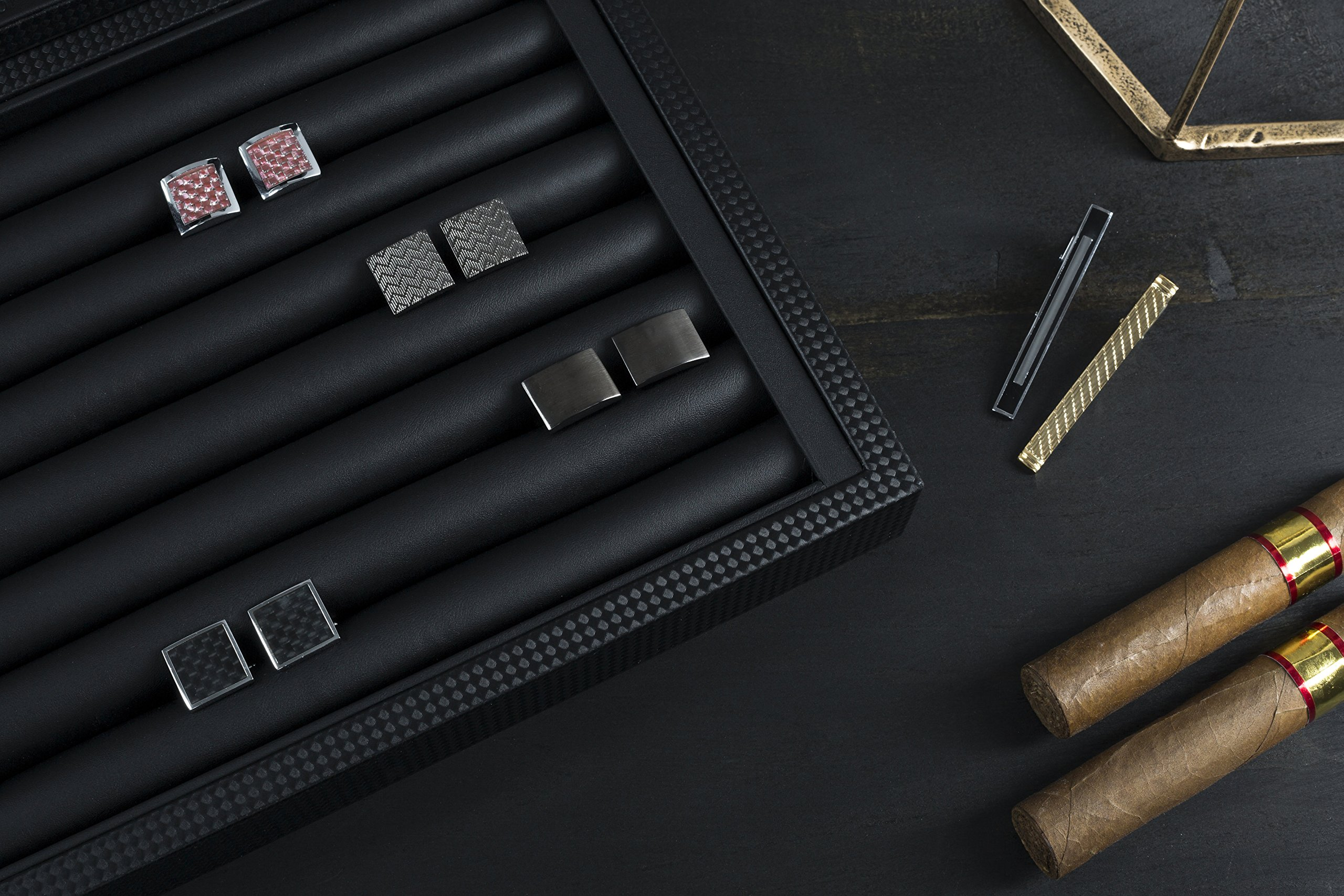 Glenor Co Cufflink Box for Men - Holds 70 Cufflinks - Luxury Display Jewelry Case -Carbon Fiber Design - Metal Buckle Holder, Large Glass Top - Black by Glenor Co (Image #6)