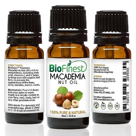 biofinest Nueces de Macadamia - Aceite Orgánico 100% puro prensado en frío - PREMIUM CALIDAD - Rico en Omega 6,7 & Vitamina E - Mejor para pelo y piel salud ...