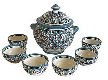 Suppe 6 Tassen Keramik Terracotta Marokkanische Suppenschale