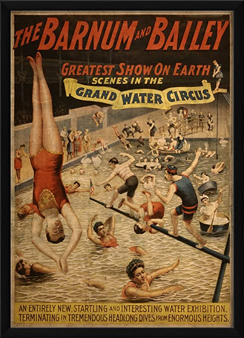 Amazon Com The Artwork Factory Grand Water Circus Vintage Poster Ready To Hang Artwork Prints Posters Prints