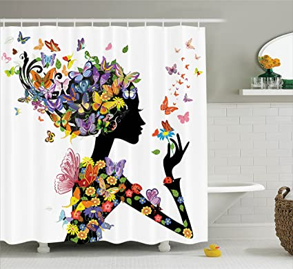 Ambesonne Afro Shower Curtain Butterflies Decoration By Girl Fashion Flowers With Ornamental Floral Foliage