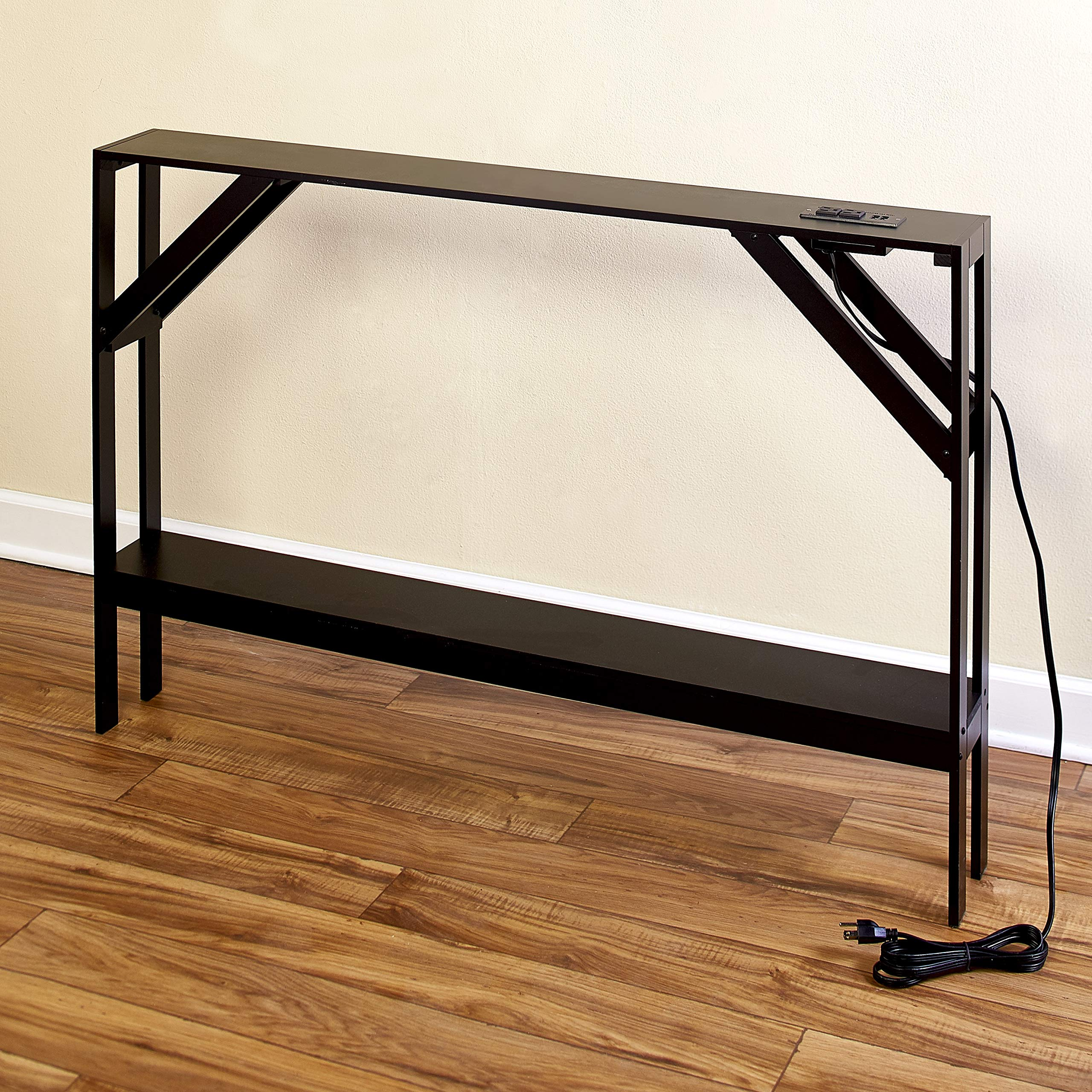 Skinny Sofa Table with Outlet - Modern Accent Table with Black Finish by The Lakeside Collection