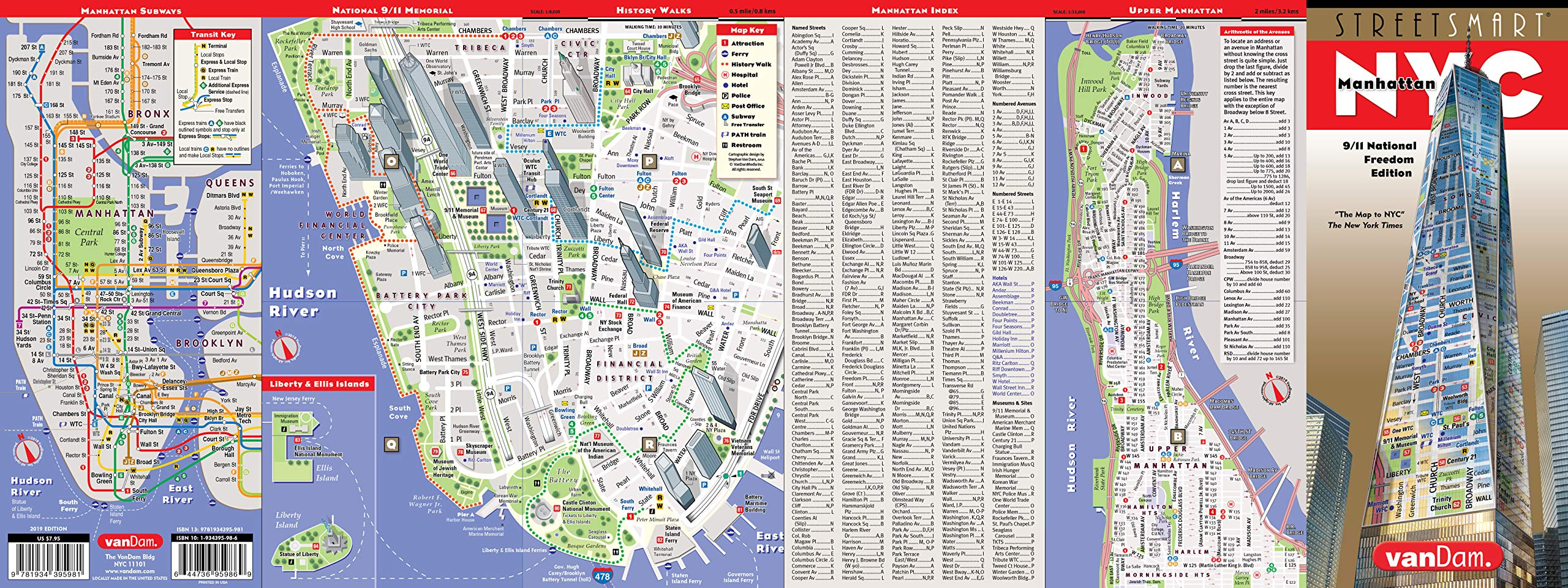 StreetSmart NYC Map 9/11 Edition by VanDam -- Laminated City ... on jersey city map, queens map, west village map, ny map, roosevelt island map, central park map, throgs neck bridge map, madison square garden map, new york map, harlem map, nassau county map, long island map, path map, randall's island map, murray hill map, times square map, fire island map, brooklyn map, lincoln center map, north brother island map,