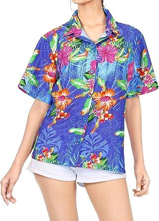 LA LEELA Estampado de Flores botón de Camisa de la Playa de Las Mujeres Abajo Azul_A79 S - ES Tamaño :- 42-44: Amazon.es: Ropa y accesorios