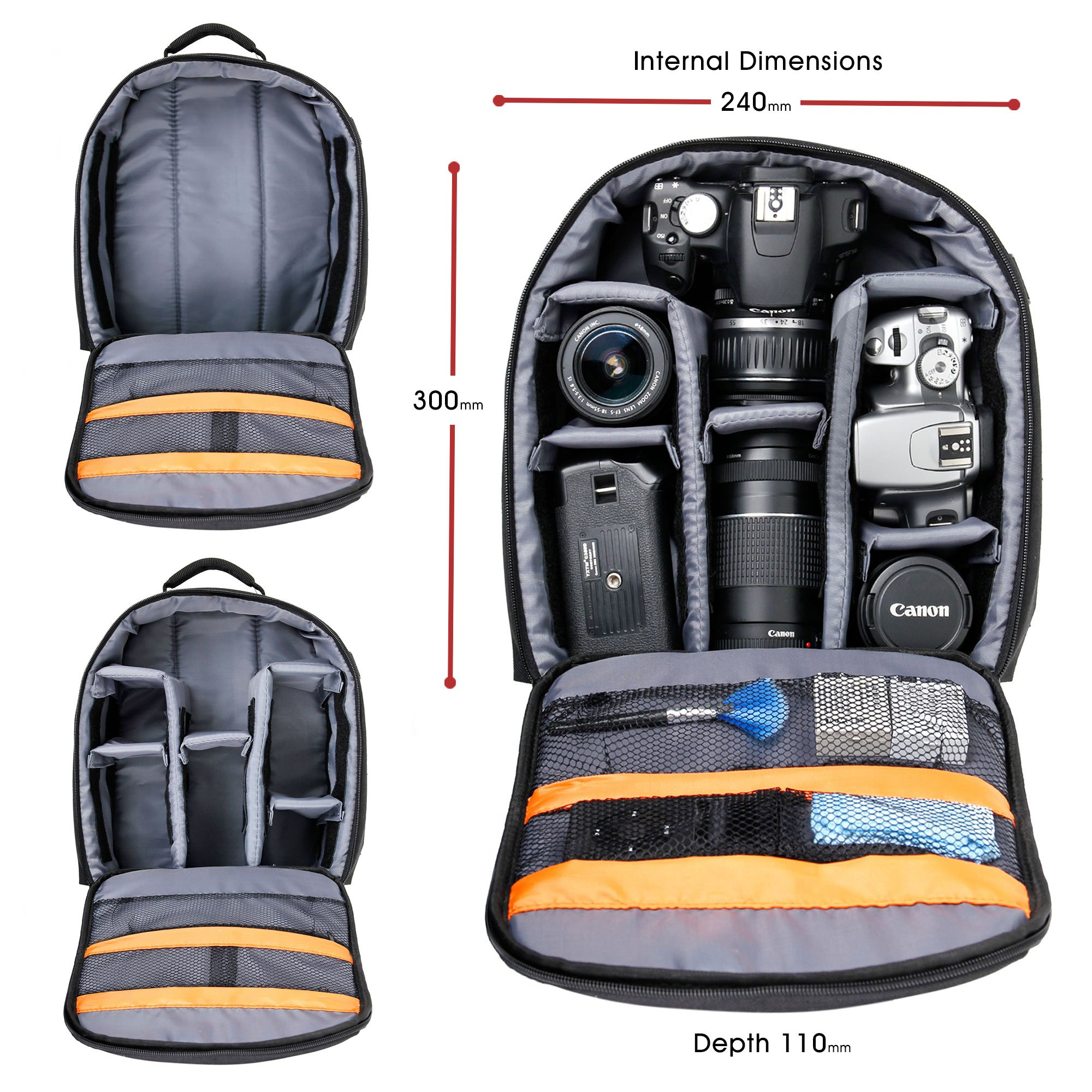 DURAGADGET Premium Quality, Water-Resistant Compact Backpack Organiser - Compatible with Sphero Ollie/Sphero Ball Robot - with Customisable Interior & Additional Raincover by DURAGADGET (Image #4)