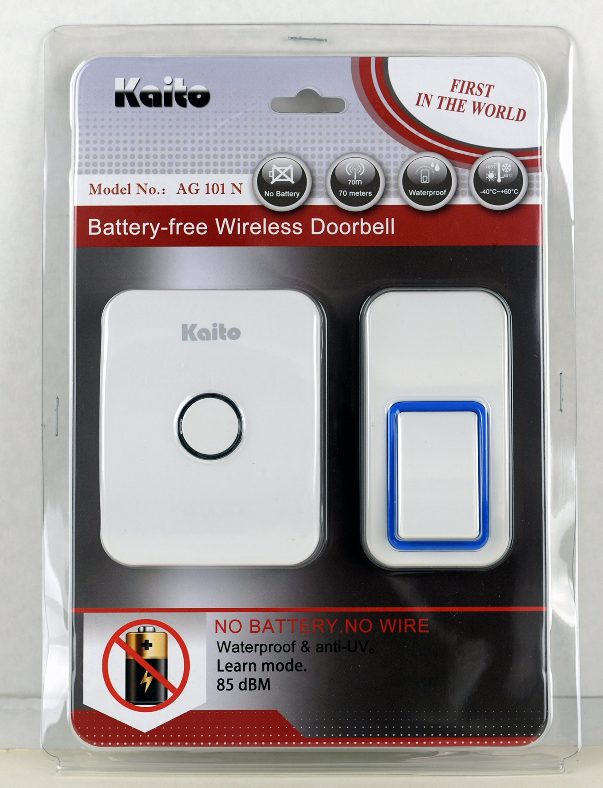 Kaito Wireless Doorbell No Battery Needed for both receiver and transmitter, Battery Free Door Chime with 25 Ring Tones, Waterproof, Synchronize and Work in Pairs, Easy Setup by Kaito