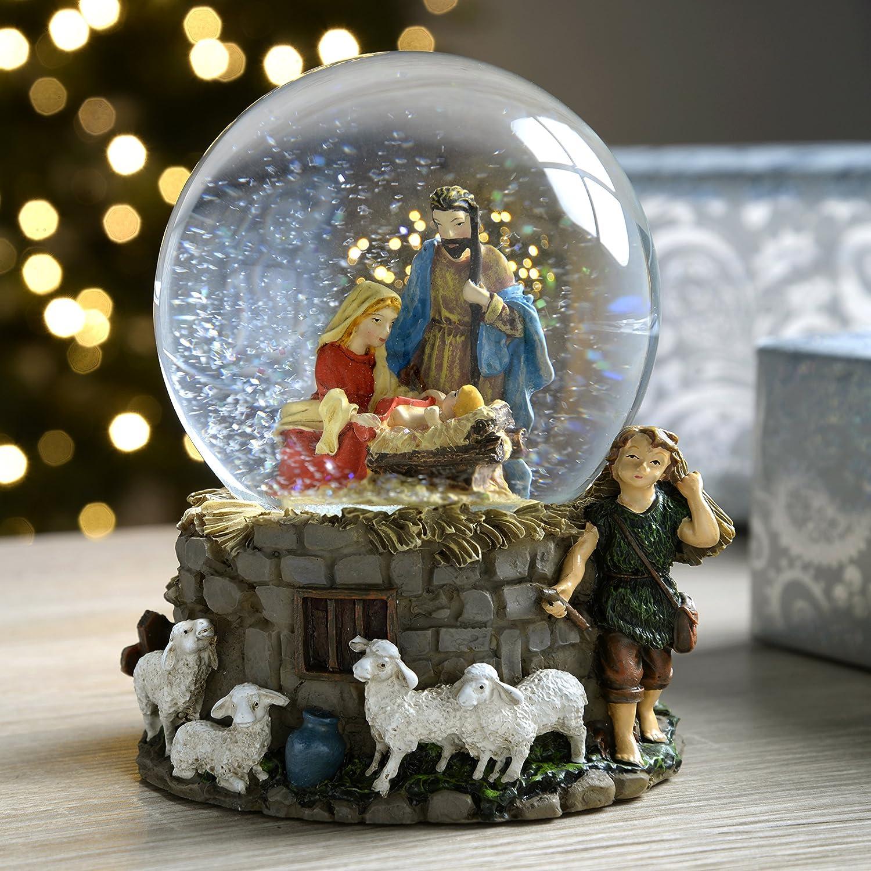 WeRChristmas Nativity Scene Snow Globe Christmas Decoration - 14 cm, Multi-Colour