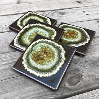product image for Geode Crackle Coaster Set of 4 in Black, Geode Coaster, Crackle Coaster, Fused Glass Coaster, Crackle Glass Coaster, Agate Coaster, Ceramic Coaster, Dock 6 Pottery Coaster