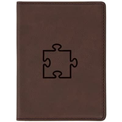 """Puzzle Piece Brown Leather Passport Holder - Laser Etched Design - 4 X 5.5"""" Engraved Passport Holder For Women And Men"""