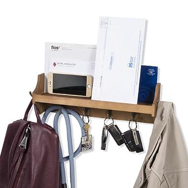 brightmaison Wall Mounted Coat Rack Shelf with Hooks Wood Entryway Organizer Key Phone Mail Holder (Walnut)