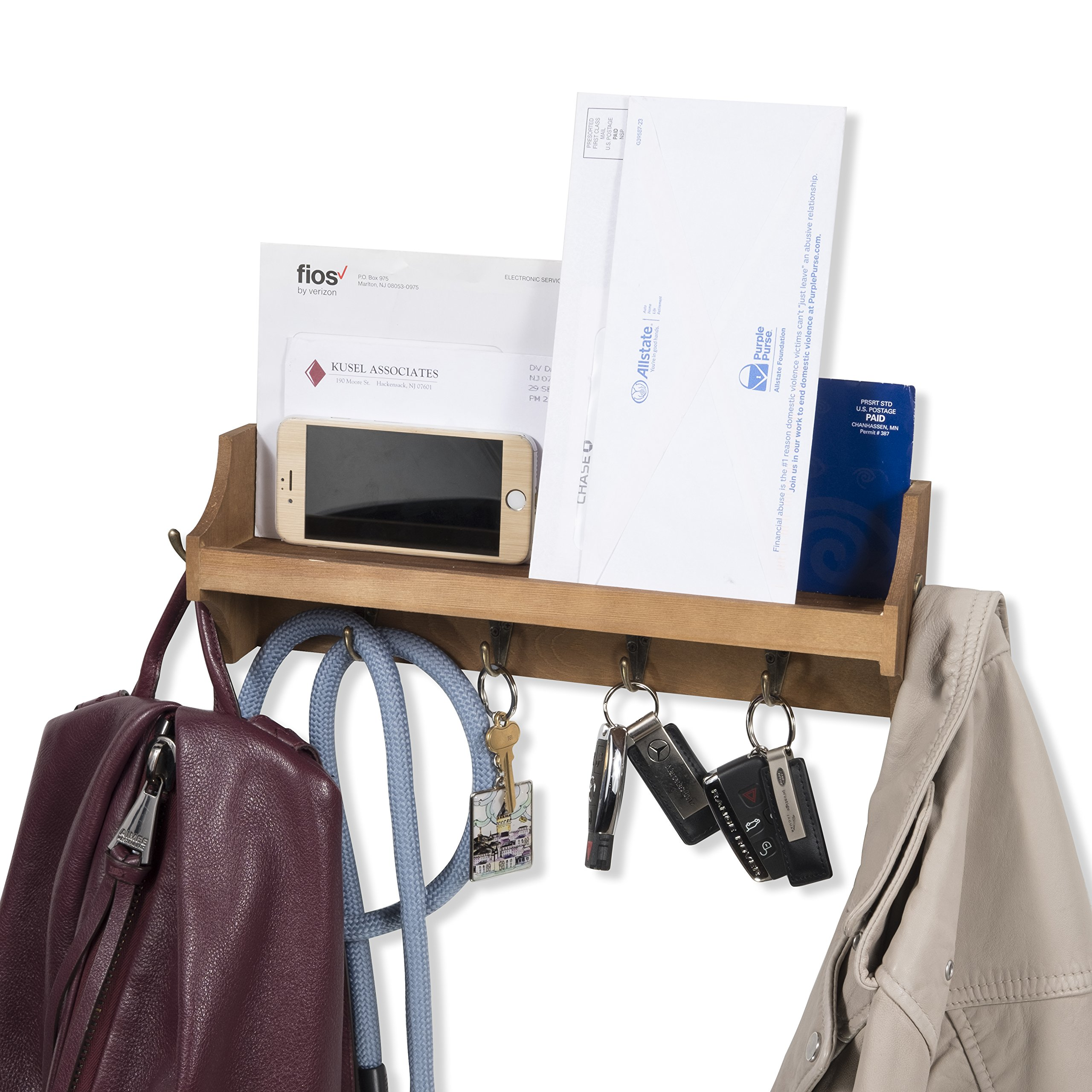 Brightmaison Small Coat Rack Shelf Wall-Mounted with Hooks Wood Entryway Organizer Key Phone Mail Holder (Walnut)
