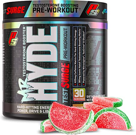 ProSupps Mr. Hyde Test Surge Pre Workout for Men and Women - High Stim Pre Workout Powder Drink with Testosterone Support Matrix for Enhanced Drive, Power and Focus (Sour Watermelon, 30 Servings)