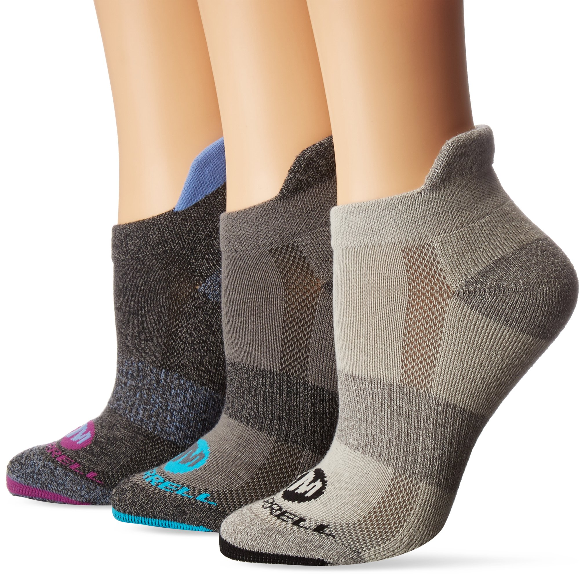 Merrell Women's Low Cut Tab 3 Pack Sock, Black Marl, s/m