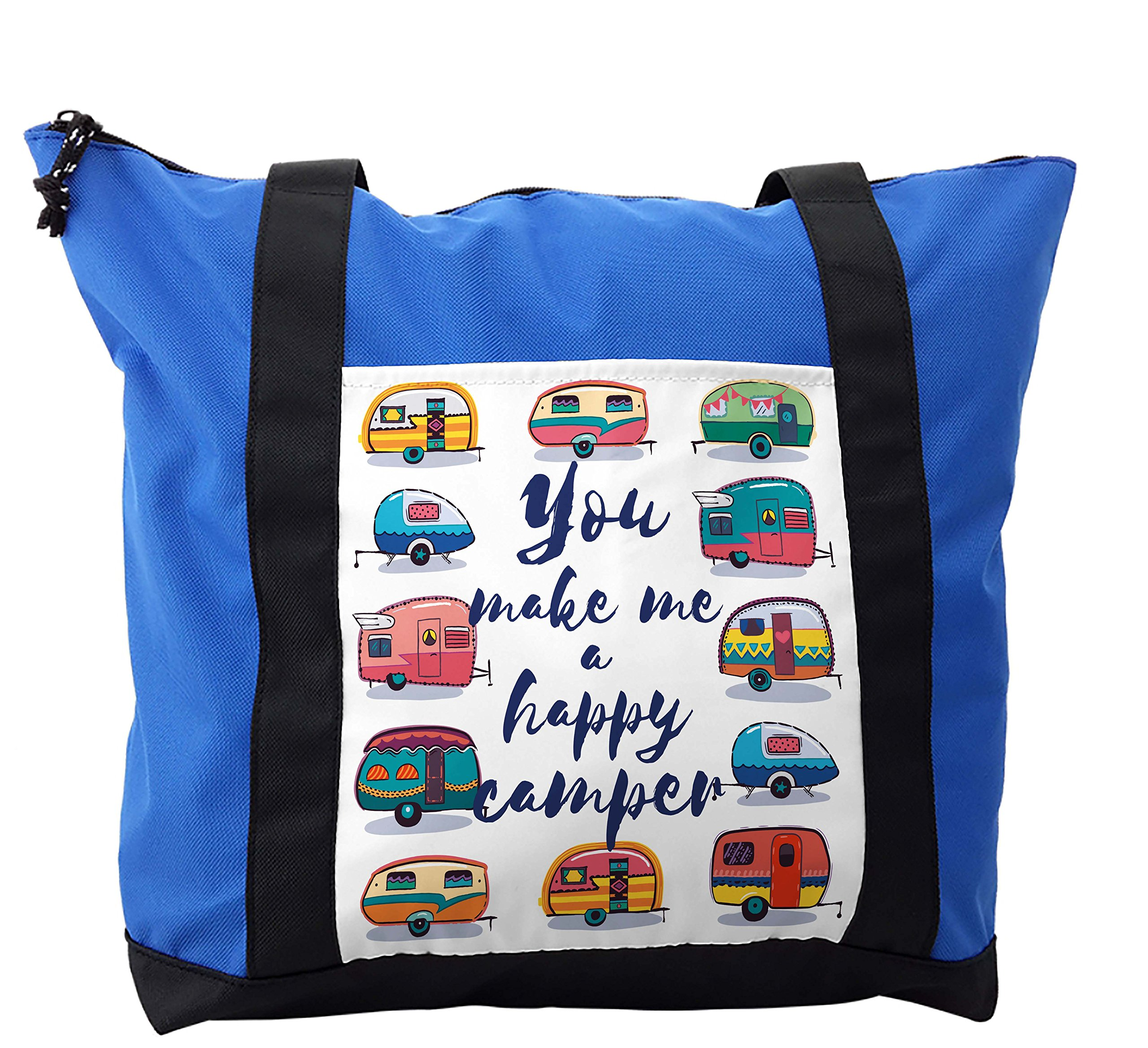 Lunarable Camper Shoulder Bag, You Make Me Happy Quote, Durable with Zipper