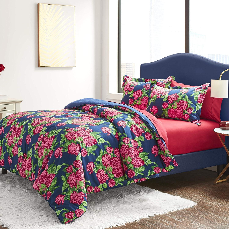 Betsey Johnson Bountiful Bouquet Bed Set, Queen, Blue