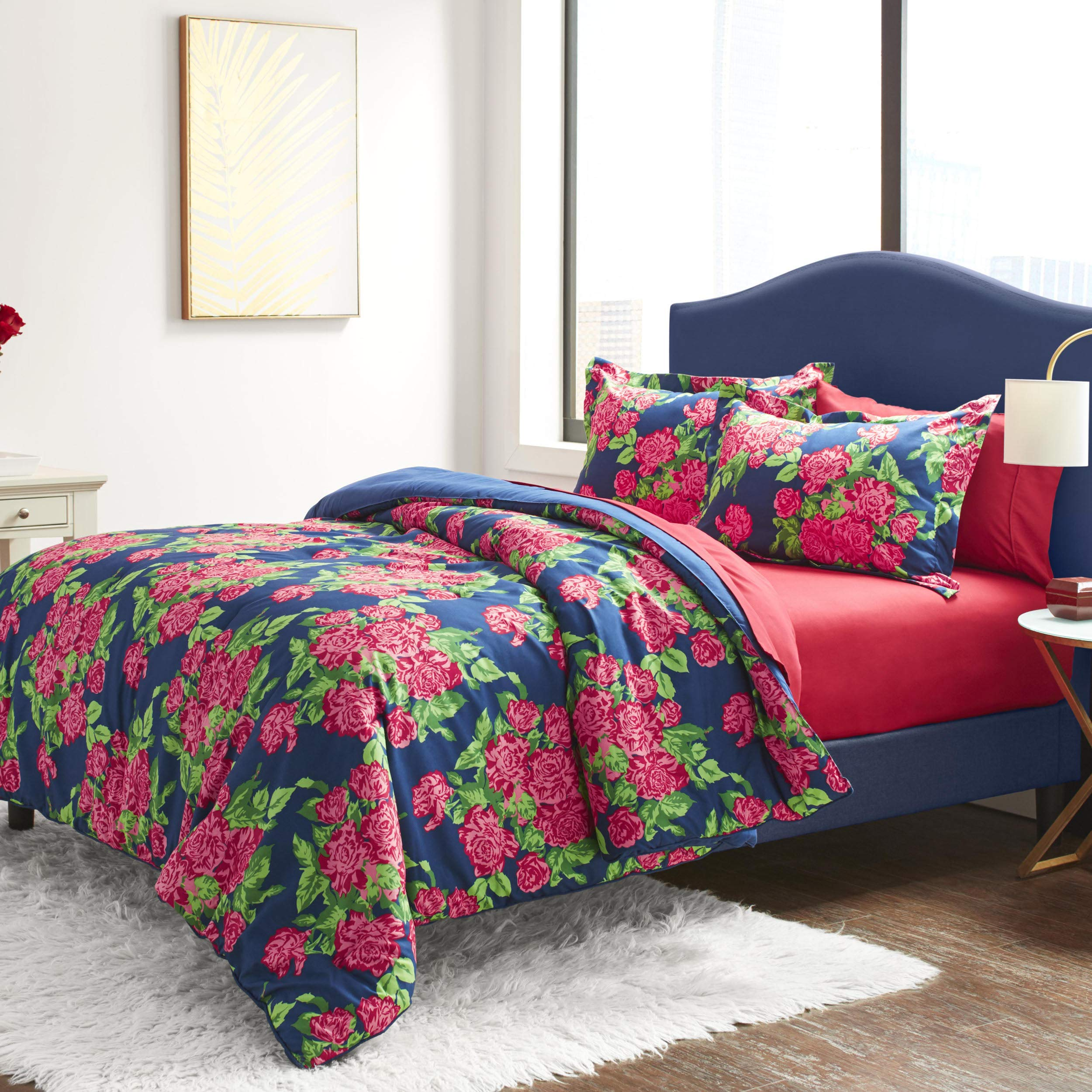 Betsey Johnson Bountiful Bouquet Bed Set, Queen, Blue