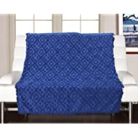 Saral Home 100% Cotton Decorative Tufted Sofa Cover-140x160 cm, Navy Blue
