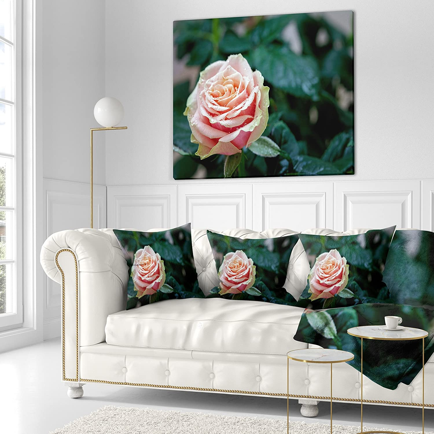 Sofa Throw Pillow 26 In Designart Cu12666 26 26 Red And Orange Rose Flower Close Up Floral Cushion Cover For Living Room X 26 In In Insert Printed On Both Side Throw Pillow Covers