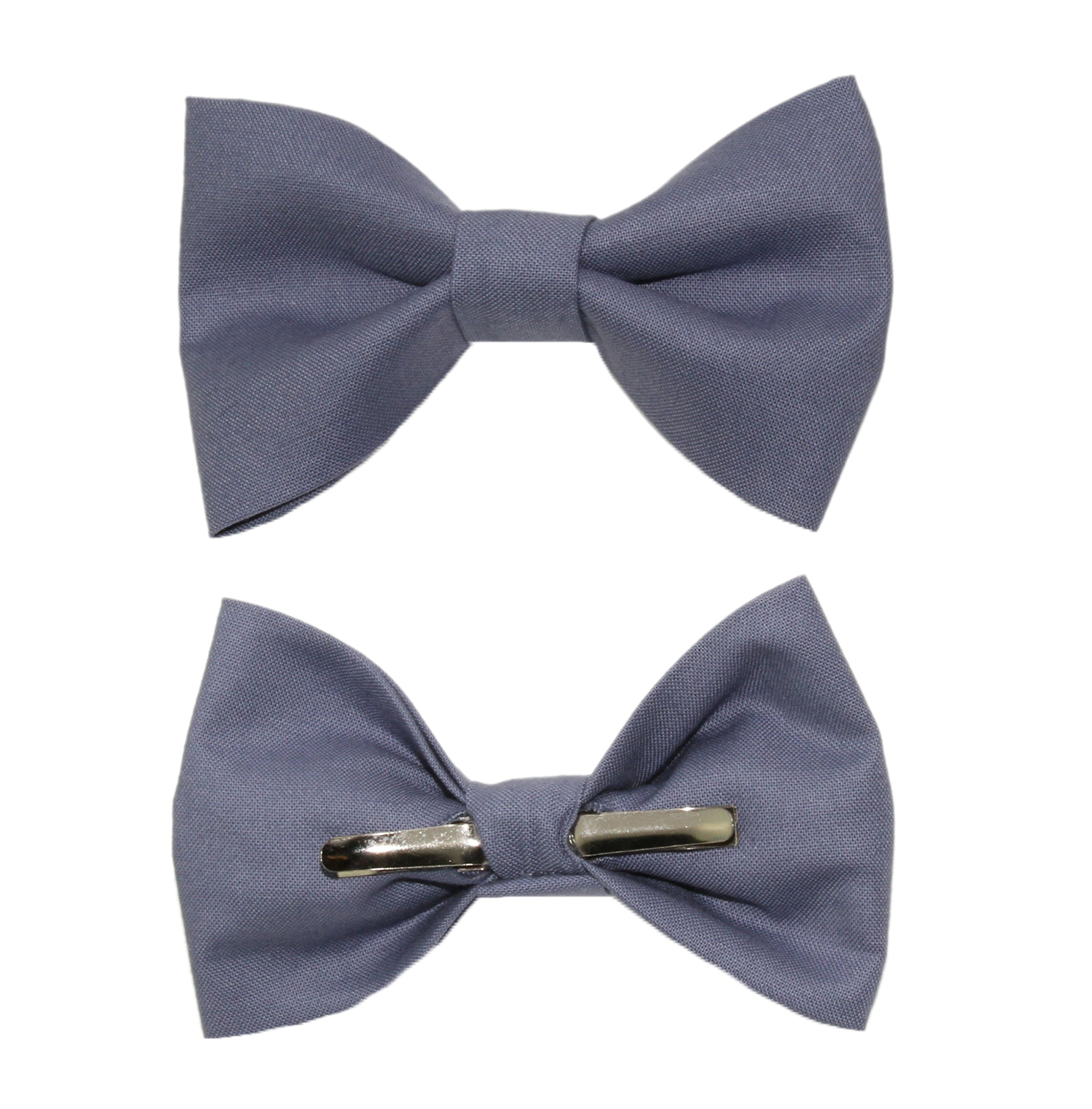 Boys Slate Blue Clip On Cotton Bow Tie Bowtie - Made in USA
