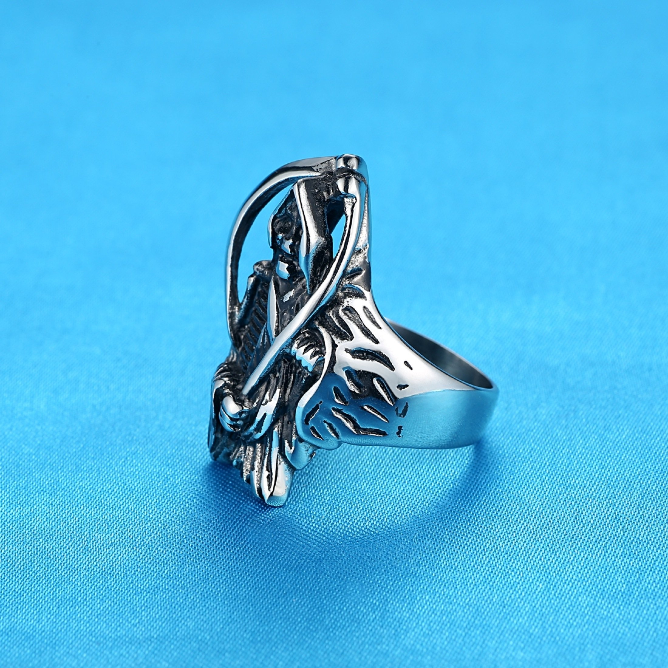 LineAve Men's Stainless Steel Grim Reaper Death Ring, Size 8, 8a5013s08 by LineAve (Image #3)