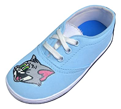 cdc91b6e01e1 Funky N Trendy Tom And Jerry Handpainted Waterproof Sky Blue Women s Canvas  Shoes ...